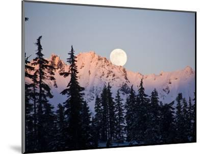 Moonrise over the North Cascades at Sunset, as Seen from Mount Baker, Washington.-Ethan Welty-Mounted Photographic Print