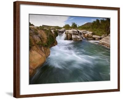 Dolan Falls Preserve, Texas:  Horizontal Landscape of the Dolan Falls During Sunset.-Ian Shive-Framed Photographic Print