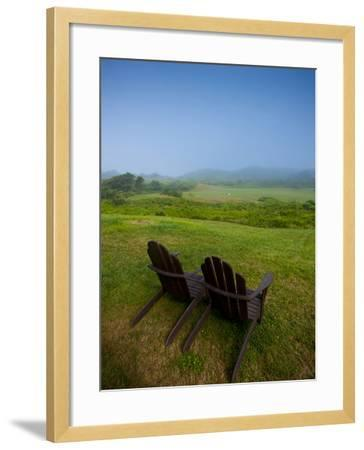 Adirondack Chairs on Lawn at Martha's Vineyard with Fog over Trees in the Distant View-James Shive-Framed Photographic Print