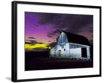 Northern Lights Above Moulton Barn-Mike Cavaroc-Framed Photographic Print
