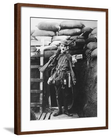 Charlie Chaplin, Shoulder Arms, 1918--Framed Photographic Print