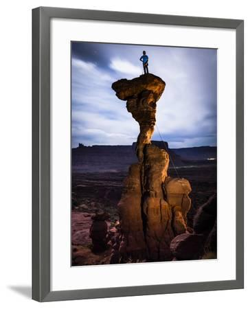 Sam Feuerborn Climbs the Single Pitch Mini-Tower: Cobra 5.11A- Fisher Towers - Moab, Utah ---Dan Holz-Framed Photographic Print