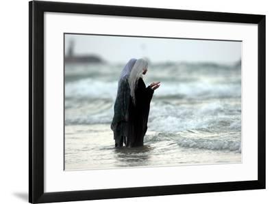 Palestian Girls Bathe in the Water Next to the Beach in Tel Aviv, Israel-Pavel Wolberg-Framed Photographic Print
