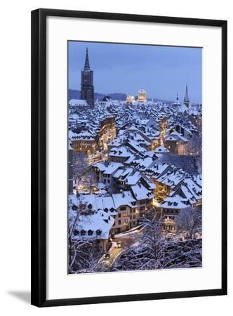 Snow-Covered Roofs of the Old Town of Bern, Switzerland-Peter Klaunzer-Framed Photographic Print