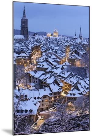 Snow-Covered Roofs of the Old Town of Bern, Switzerland-Peter Klaunzer-Mounted Photographic Print