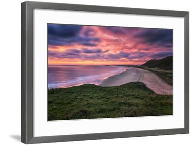 Colorful Sunset over the Beach in Rhossili on the Gower Peninsula, Wales, United Kingdom-Frances Gallogly-Framed Photographic Print