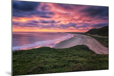 Colorful Sunset over the Beach in Rhossili on the Gower Peninsula, Wales, United Kingdom-Frances Gallogly-Mounted Photographic Print