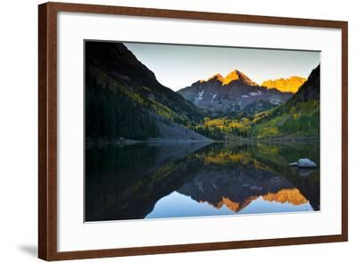 Gorgeous Fall Sunrise at Maroon Bells, Aspen, Colorado-Brad Beck-Framed Photographic Print