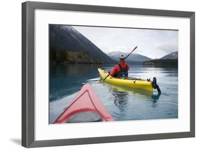 Young Woman Kayaking on Chilko Lake in British Columbia, Canada-Justin Bailie-Framed Photographic Print