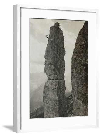 Extreme Climbing on a Mountain Peak in the Dolomites--Framed Photographic Print