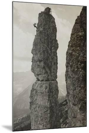 Extreme Climbing on a Mountain Peak in the Dolomites--Mounted Photographic Print