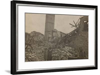 World War I: The Historical Center of Mariano Comense Destroyed by Bombing--Framed Photographic Print