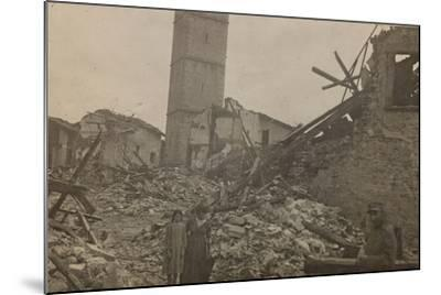 World War I: The Historical Center of Mariano Comense Destroyed by Bombing--Mounted Photographic Print