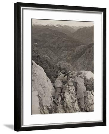 Partisans Posted on the Spur of a Rock During the Second World War-Luigi Leoni-Framed Photographic Print
