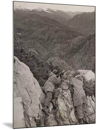 Partisans Posted on the Spur of a Rock During the Second World War-Luigi Leoni-Mounted Photographic Print