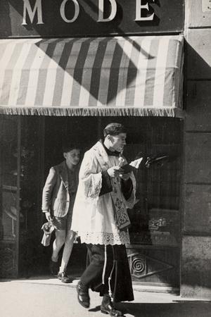 Priest During the Easter Blessing-Luigi Leoni-Framed Photographic Print