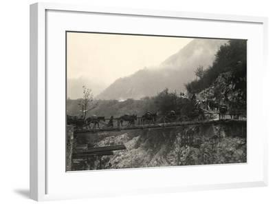 Italian Soldiers Traverse a Bridge over the Isonzo River, on the Outskirts of Caporetto-Ugo Ojetti-Framed Photographic Print