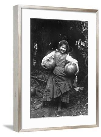 Peasant Girl with Pumpkins-Paolo Biondi-Framed Photographic Print