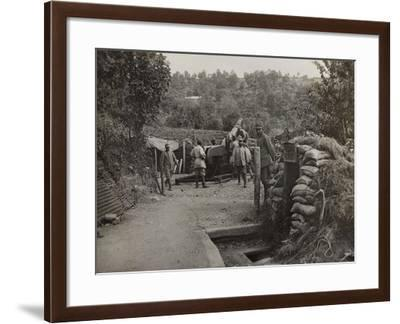 Soldiers with a 152 Howitzer Engaged in the Taking of Gorizia During the First World War-Luigi Verdi-Framed Photographic Print
