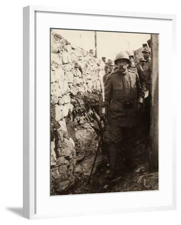 General Elia Inside a Trench with a Group of Soldiers. the Photo Was Taken May 1916-Ugo Ojetti-Framed Photographic Print
