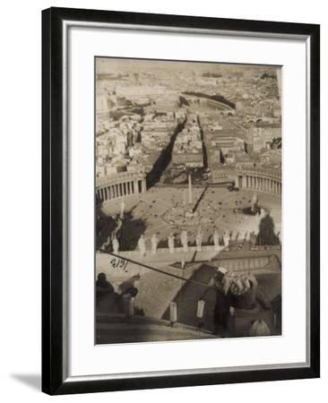 Worker on the Dome of St. Peter's Cathedral Placing Candle Lanterns-Luigi Leoni-Framed Photographic Print