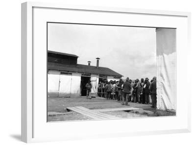 Internment Camp Katzenau, a Suburb of Linz, Austria: Prisoners in Line for the Meal--Framed Photographic Print