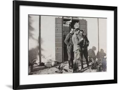 War Campaign 1917-1920: Officers Magnoni, Ranucci and Brusati with a Telescope--Framed Photographic Print