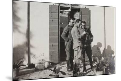 War Campaign 1917-1920: Officers Magnoni, Ranucci and Brusati with a Telescope--Mounted Photographic Print