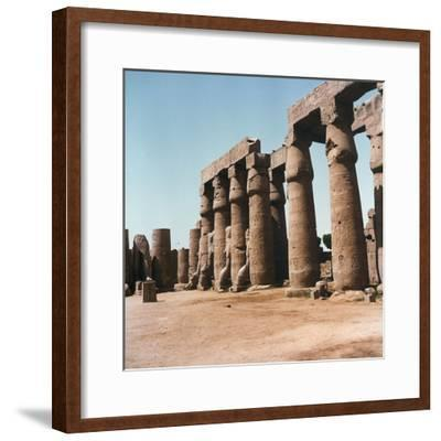 The Courtyard of Ramses Ii with Typical Papyrus Columns Inside the Temple of Luxor, in Upper Egypt-Pietro Ronchetti-Framed Photographic Print