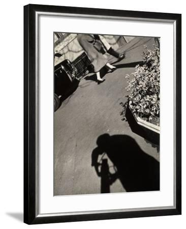 The Shadow of a Photographer on a Street in Rome-Luigi Leoni-Framed Photographic Print