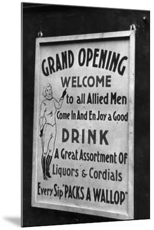 Billboard for a Party in Honor of Allied Troops-Luigi Leoni-Mounted Photographic Print