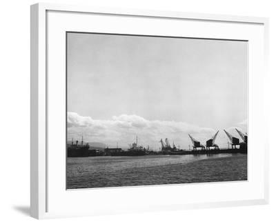 Crane on the Port of Rijeka (River)-Dusan Stanimirovitch-Framed Photographic Print