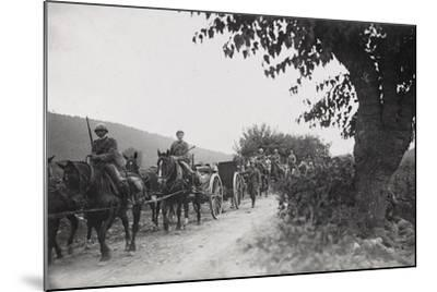 World War I: Command of the Artillery on the March to the War Front--Mounted Photographic Print