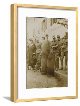 War Campaign 1917-1920: Campolongo January 1919 , Group Photo in Front of Big Bullets--Framed Photographic Print