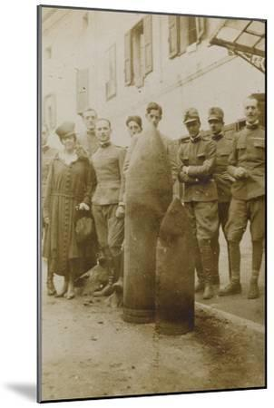 War Campaign 1917-1920: Campolongo January 1919 , Group Photo in Front of Big Bullets--Mounted Photographic Print