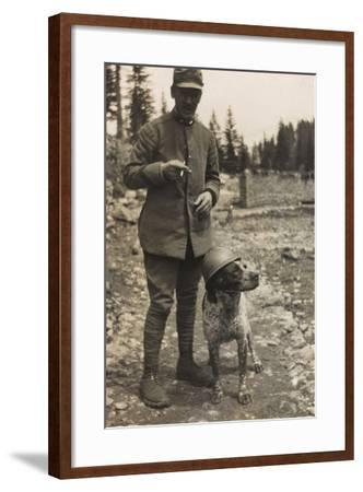 World War I: Portrait of Soldier with Dog--Framed Photographic Print
