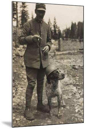 World War I: Portrait of Soldier with Dog--Mounted Photographic Print