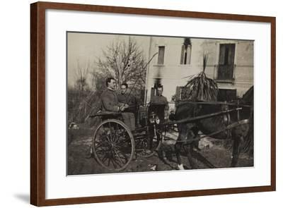 War Campaign 1917-1920: Soldiers Aboard a Horse-Drawn Carriage to Cavrie--Framed Photographic Print