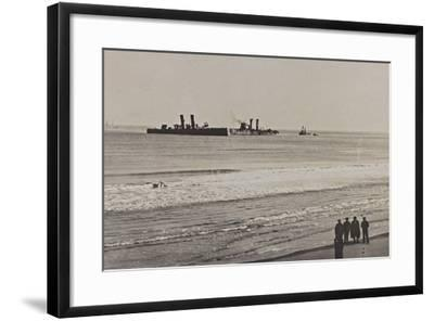 British Naval Vessels Off the Port of Ostend During the First World War--Framed Photographic Print