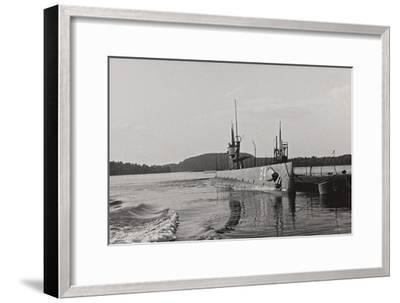 First World War: Naval Vessel Along the Dock of Ostend--Framed Photographic Print