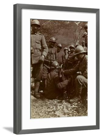Free State of Verhovac-July 1916: Italian Soldiers with Goat in the Field Fous Rio in Val D 'Aupa--Framed Photographic Print