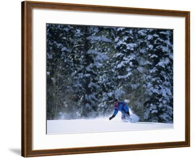 Male Snowboarder in Action--Framed Photographic Print