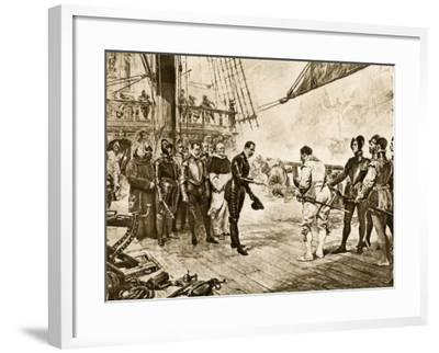 Spanish Armada's Admiral Surrenders His Sword to Francis Drake, c.1588--Framed Photographic Print