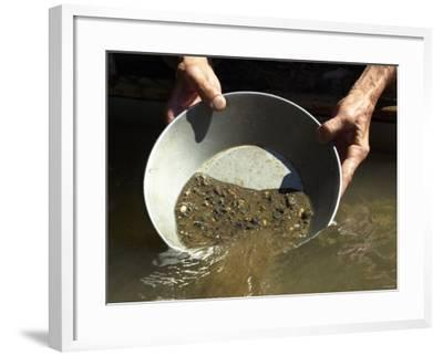 Reenactor Panning for Gold on the American River, Where the Gold Rush Started, Coloma, California--Framed Photographic Print