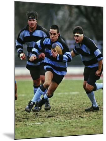 Rugby Players in Action, Paris, France-Paul Sutton-Mounted Photographic Print