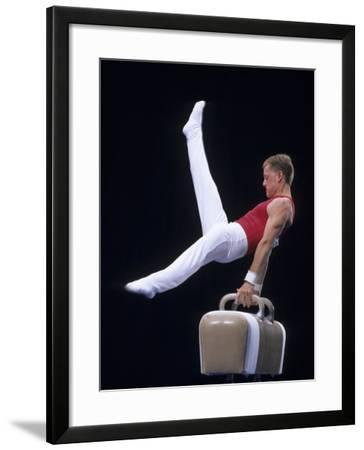 Male Gymnast Performing on the Pomell Horse--Framed Photographic Print