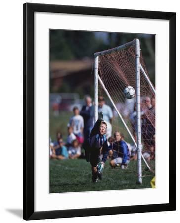 11 Year Old Boys Soccer Goalie in Action--Framed Photographic Print