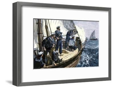 Royal Navy Chasing An East African Slave-Ship, Circa 1880--Framed Photographic Print