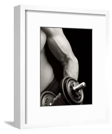 Man Working Out with Hand Wieghts, New York, New York, USA-Chris Trotman-Framed Photographic Print
