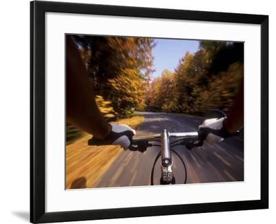 Detail of Cyclist View while Riding on the Roads--Framed Photographic Print